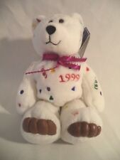 New Years Holiday Plush Bear 1999 White Limited Treasures Numbered Box Tag 1998