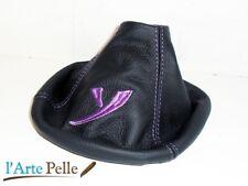 lancia Ypsilon cuffia leva cambio in pelle nera + ricamo viola