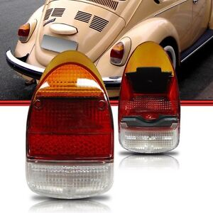 VW BEETLE BUG Pair 2pcs EURO TAIL LIGHT LENS LENSES 1968-1970 Amber Red