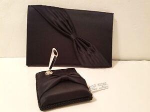 2 pc Black Satin Guestbook & Silvertone Pen Holder Bow Accent Wedding Bridal
