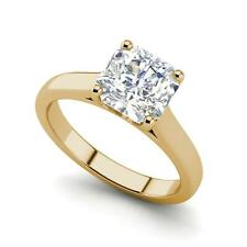 Solitaire 1.75 Carat SI1/F Cushion Cut Diamond Engagement Ring Yellow Gold