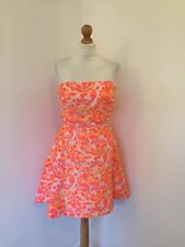 Definitions Dress UK 14 Bright Fluro Floral Orange Yellow Pink Prom Style 50s