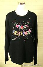 Womens Christmas Sweater Black Size 2XL (20) Merry Christmas Lights NWT