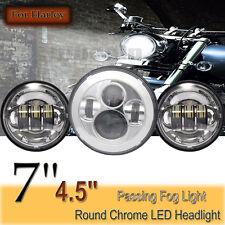 7'' LED Haupt Scheinwerfer+2x 4,5'' Zusatzscheinwerfer F. Harley Chrom E-Geprüft