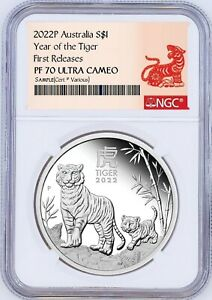 2022 Australia PROOF Silver Lunar Year of the TIGER NGC PF70 1oz $1 Coin FR