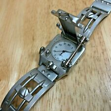 Rare Vintage Japan Movt Robot Style Silver Analog Quartz Watch Hours~New Battery