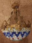 """Multi-Colored European Empire Style Chain Crystal Hanging Ceiling Dome Lamp 16"""""""