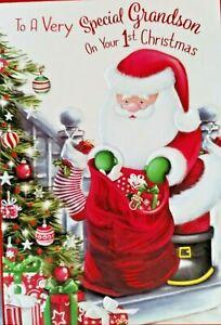 GRANDSON 1st CHRISTMAS CARD ~ SANTA DESIGN ~ QUALITY CARD & NICE VERSE