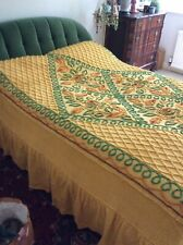"Vintage Orange And Green Candlewick Bedspread 104 "" X 98 """