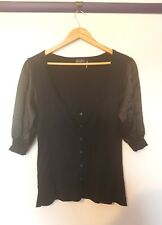 Guess jeans womens size M black shiny 3/4 sleeve button up cardigan