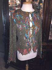 Sandy Starkman M Artwear SWEATERJacket Blazer Dressy Ribbon GEMS LACE Unique