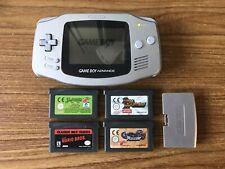 Game Boy Advance Platinum Handheld Console Bundle +4 Games