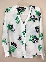 Banana Republic White Black & Green Floral Long Sleeve Shirt Blouse Top Sz XS