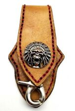 Biker Keychain Skull Indian Chief Trucker Handmade Leather Belt Clip Key Holder