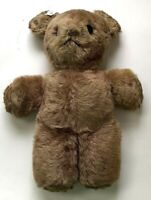 "Vintage Teddy Bear Button Eyes Wood Wool Stuffed Plush Beige Brown 13"" X 11"""