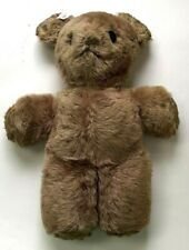 "Vintage Teddy Bear Button Eyes Wood Wool Stuffed Plush Beige Brown 13"" X 11"""