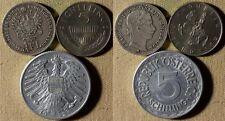 Austria : Lot 3 Coins 1/4 Fl 1862A XF-;5 Sch 1969 Proof;5 Sch 1952 XF-AU  IR3837