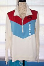 VICTORIA'S SECRET PINK 1/2 ZIP SWEATSHIRT RED BLUE WHITE M NWT