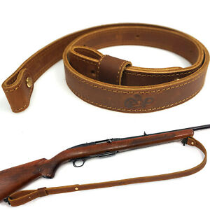 "Buffalo Hide Leather Rifle Gun Sling_Crazy Horse/Brown_Adjust Handmade_1"" Wide"
