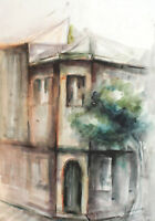 IMPRESSIONIST CITYSCAPE VINTAGE WATERCOLOR PAINTING SIGNED