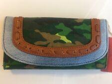 Mossimo, Denim Fabric Trifold Wallet Snap Closure, Green Camo