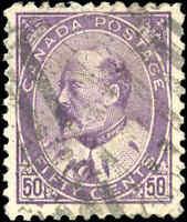 1908 Used Canada 50c F-VF Scott #95 King Edward VII Stamp