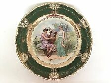 Imperial Crown Green Gold Portrait Decorative Cabinet Display Plate Austria