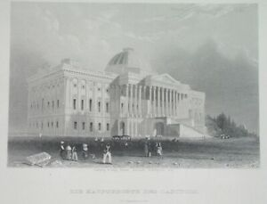 1850 UNUSUAL ORIGINAL WASHINGTON CITY Capitol UNITED STATES nice engraving