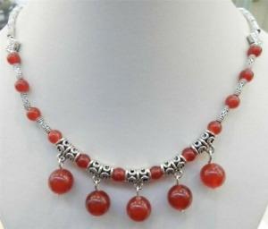 Women Jewellery Tibetan Silver Elephant Red Jade Bead Pendant Necklace