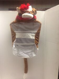 Pet Halloween Dog  Costume  Brown Red Hooded SOCK MONKEY  Lg, & XLg NWT