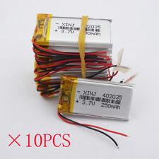 10 pcs 3.7V 250 mah Polymer Lipo battery 402035 for watches headset record pen