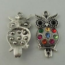 3PCS Antique Silver Crystal Rhinestone  Owl Necklace Charm Pendant 45x24MM