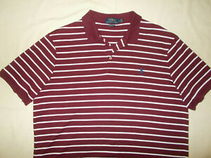 RALPH LAUREN SHORT SLEEVE MAROON STRIPED POLO SHIRT MENS LARGE EXCELLENT COND.