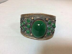Copper decorative cuff bangle with green stones