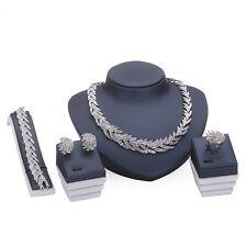 4Tlg.Schmuck-Set Halskette-Ohrringe-Armband-Ring Platin beschichtet NEU