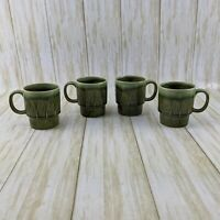 Vintage Japan Green Ceramic Coffee Mugs Cups Stackable Leaf Design MCM  Set of 4