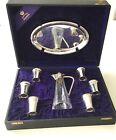 Antique German Solid 800 Silver vodka Cups goblet &tray & jug decanter set 8 PS