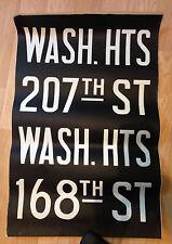 1960s WASHINGTON HEIGHTS IND Train New York Subway Sign Vellum Cloth NEVER USED!