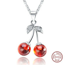 Sterling Silver 925 Cherry Pendant Necklace Chain Sets with Natural Red Agate