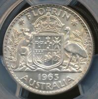 Australia 1963(m) Florin 2/- Elizabeth II (Silver) - PCGS MS64 (Ch-Unc)