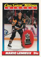 Mario Lemieux 1991-92 Topps #523 Pittsburgh Penguins Hockey Card