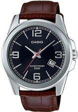 Casio MTP-E138L-1A 50M Men's Leather Dress Watch, Black Dial