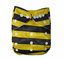 Modern Cloth Reusable Washable Baby Nappy Diaper & Insert, Bumble Bee