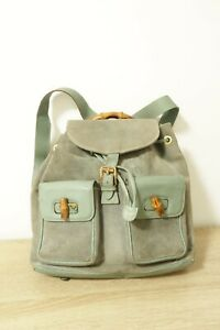 Authentic GUCCI Bamboo suede Leather Backpack Bag #8638