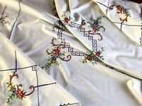 Vintage Hand Embroidered Cream Cotton Tablecloth 49x50 Inch