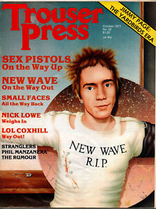 TROUSER PRESS. Oct 1977. Punk, 60's, Sex Pistols, Small Faces, Jimmy Page. VG.