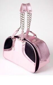Petote Pink Metallic Leather Bali Links Couture Dog Bag Pet Carrier Purse LARGE