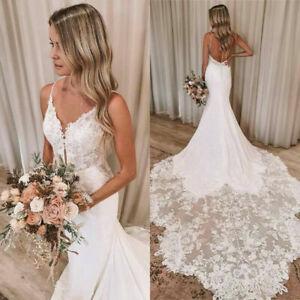 Spaghetti Strap Beach Sexy Mermaid Wedding Dresses Long Train V-neck Backless