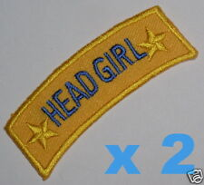HEAD GIRL iron-on badges for fancy dress school uniform ~ genuine ex-school item