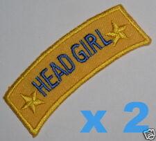 HEAD GIRL iron-on badges for fancy dress school uniform ~ genuine ex-school item